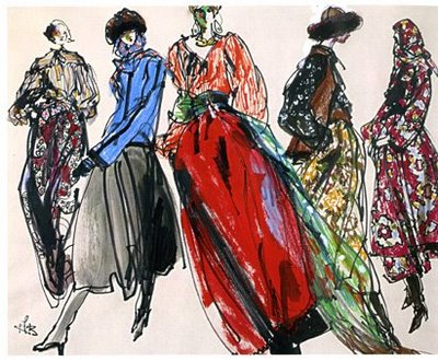 Yves Saint Laurent fashion illustration Ballets Russes and Russian Cossack costumes (for his 1976 collections) Kenneth Paul Block Women Management Blog